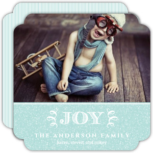 Simple Joyful Blue Photo Holiday Card
