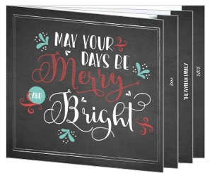 Vintage Chalkboard Merry And Bright Booklet Holiday Photo Card