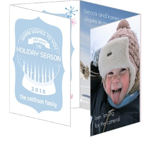 Pink and Blue Holiday Photo Card