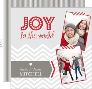 Light Gray And Red Modern Chevron Holiday Photo Card