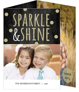 Chalkboard and Gold Glitter Holiday Photo Card