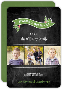 Red Banner and Mistletoe Holiday Card