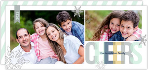Gray and Mint Snowflake Cheers Holiday Photo Card