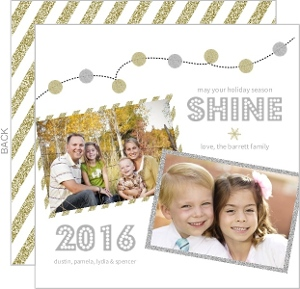 Gold and Silver Glitter Lights Holiday Photo Card