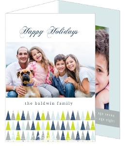Festive Geometric Trees Holiday Photo Card