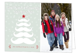 Mint Staching Through The Snow Holiday Photo Card