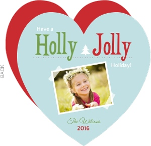 Blue Holly Jolly Holiday Photo Card