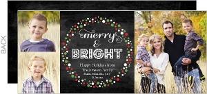 Chalkboard Festive Wreath Holiday Photo Card