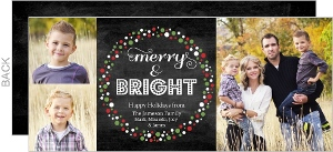 Chalkboard Festive Wreath Holiday Photo Card