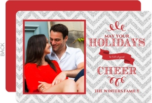 Silver and Red Glitter Chevron Holiday Photo Card