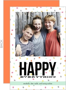 Colorful Confetti Happy Everything Photo Holiday Card