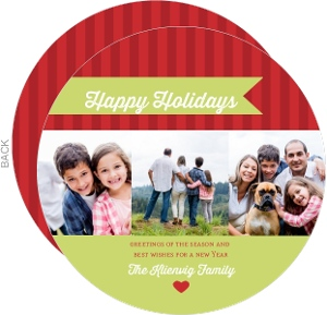 Bright Red Stripes Holiday Photo Card
