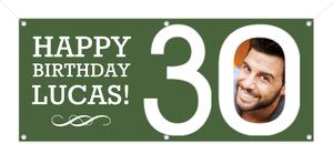 Modern Green 30th Birthday Banner