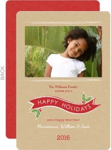 Red Banner and Mistletoe  Holiday Photo Cards