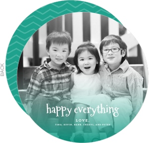 Turquoise Happy Everything Circle Photo Holiday Card