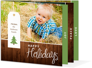 Evergreen Rustic Wood Grain Holiday Cards