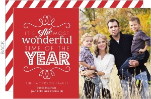 Red And White Frame Holiday Photo Card