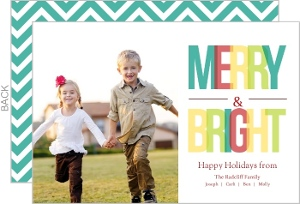 Colorful Merry And Bright Holiday Photo Card - 5939