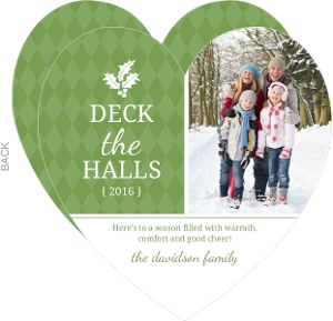 Deck the Halls Green Holiday Photo Card
