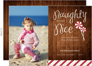 Woodgrain Naughty or Nice Holiday Card