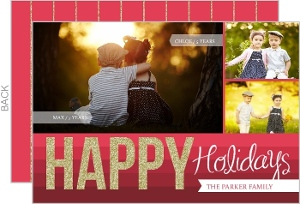Modern Crimson Striped Holiday Photo Card