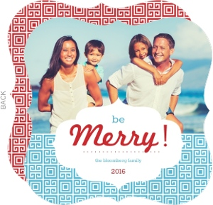 Red and Blue Retro Pattern Photo Holiday Card