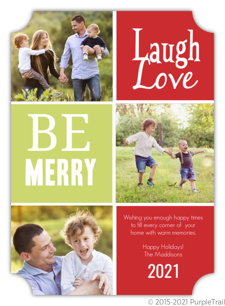 Red and Green Holiday Photo Card