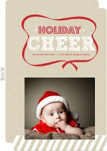 Red Christmas Ribbon Holiday Photo Card