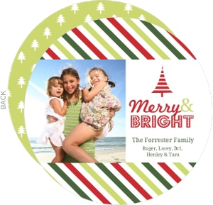 Colorful Stripes Circle Holiday Photo Card