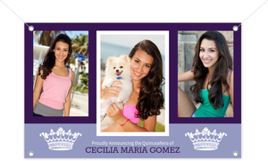 Two Tone Purple Princess Quinceanera Photo Banner