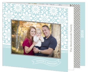 Blue and Gray Sketch Floral  Holiday Photo Card
