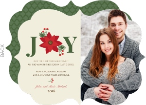 Elegant Poinsettia Holiday Photo Card