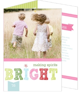Pink and Green Bright Spirits Holiday Photo Card
