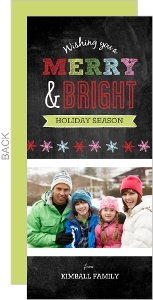 Colorful Chalkboard Snowflakes Photo Holiday Card