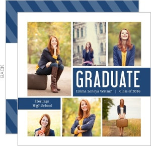 Navy Photo Collage Graduation Invitation