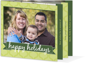 Retro Pattern Holiday Photo Booklet Card