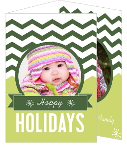 Green and White Chevron Holiday Photo Cards