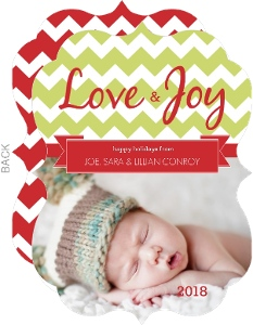 Green and Red Chevron Holiday Photo Card