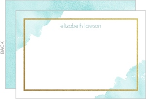 Watercolor Faux Gold Frame Thank You Card