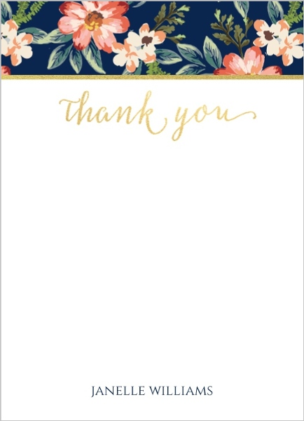 Romantic Floral Thank You Card