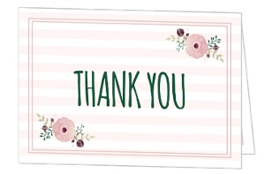 Striped Floral Thank You Card