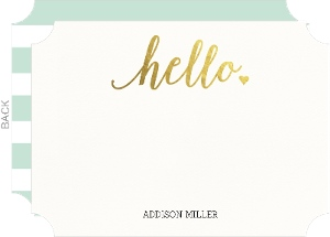 Gold Foil Hello Thank You Card