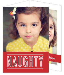 Red Naughty or Nice Holiday Card