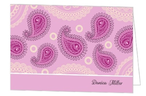 Pink Paisley Pattern Thank You Card