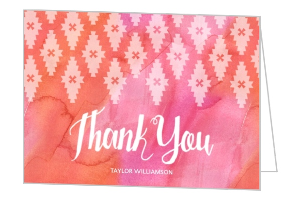 Watercolor Geometric Pattern Thank You Card