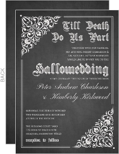 Vintage Decor Chalkboard Halloween Wedding Invitation