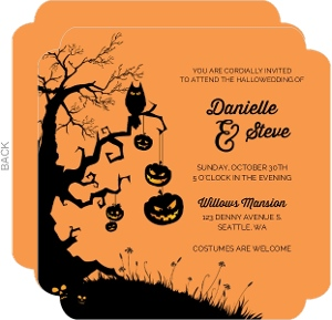 Tree And Pumpkins Halloween Wedding Invitation
