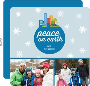 Peace On Earth City Holiday Card