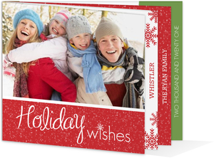 Red Snowflake  Holiday Photo Card