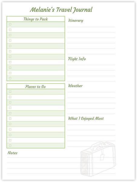 6x8 journal custom travel checklist inside page custom for Custom home design checklist